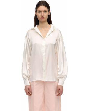 Klasyczna biała satynowa klasyczna koszula Lesyanebo