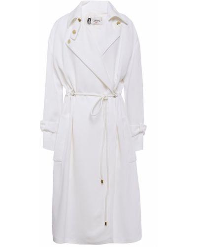 Белое кожаное пальто с карманами Lanvin