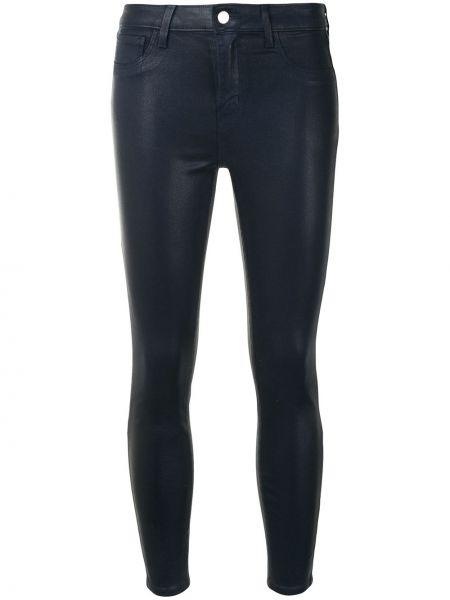 Хлопковые синие зауженные укороченные джинсы с карманами L'agence