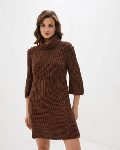 Коричневое трикотажное вязаное платье Trendyol
