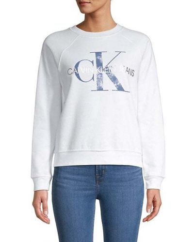 Biała bluza bawełniana z raglanowymi rękawami Calvin Klein Jeans