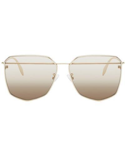 Кожаные солнцезащитные очки золотые прозрачные Alexander Mcqueen