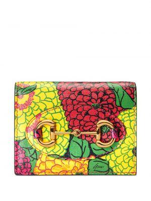 Różowy portfel skórzany w kwiaty Gucci