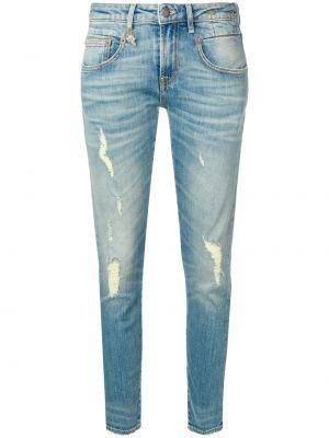 Кожаные джинсы-скинни с пайетками на пуговицах с поясом R13