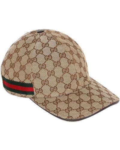 Beżowy kapelusz skórzany Gucci