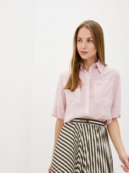 Розовая рубашка с коротким рукавом с лебяжьим пухом Solou