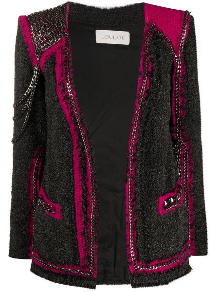 Вязаный серый пиджак с вышивкой Loulou