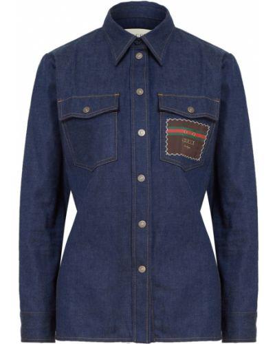 Джинсовая рубашка с карманами на кнопках с воротником винтажная Gucci