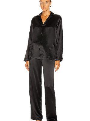 Черная шелковая пижама с рубашкой с карманами La Perla