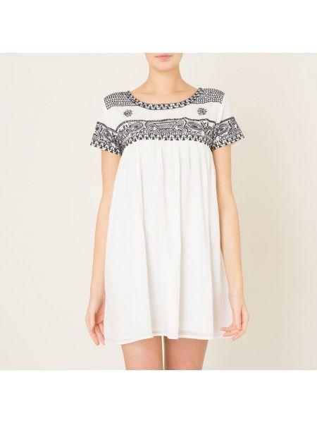 Плиссированное платье мини с вышивкой со складками с вырезом Berenice
