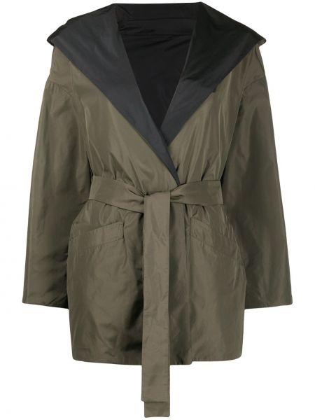 Открытая зеленая длинное пальто с капюшоном Herno