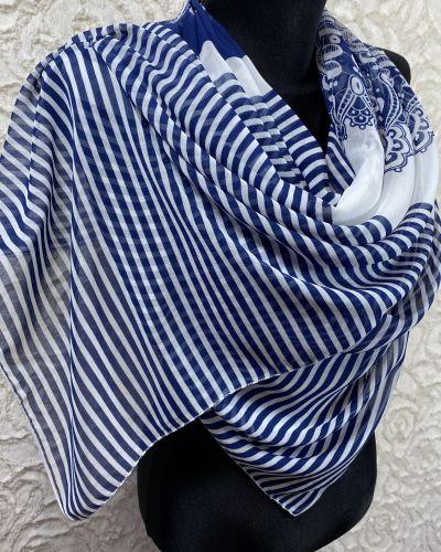 Синий шифоновый шарф в полоску Rozetka