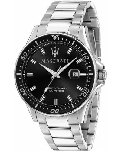 Czarny zegarek srebrny Maserati