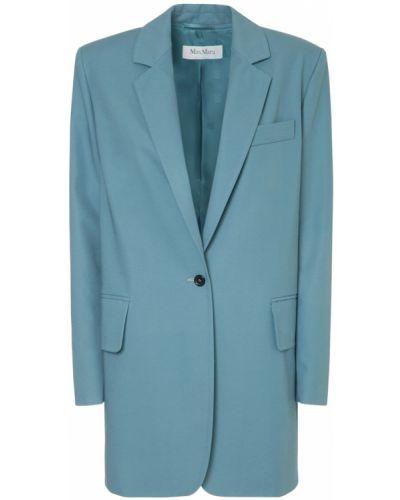 Хлопковый синий удлиненный пиджак с карманами Max Mara