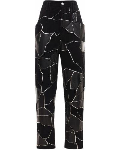 Черные кожаные брюки с карманами Isabel Marant