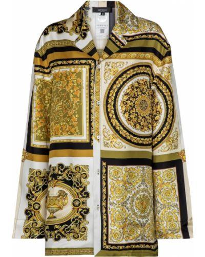 Домашняя желтая шелковая рубашка Versace