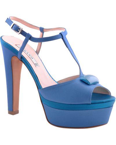 Кожаные босоножки - синие Albano
