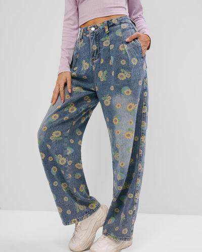 Синие широкие джинсы с карманами свободного кроя Zaful