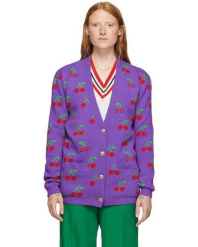 Кардиган фиолетовый жаккардовый Gucci