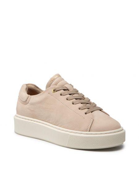 Buty sportowe skorzane - beżowe Tamaris