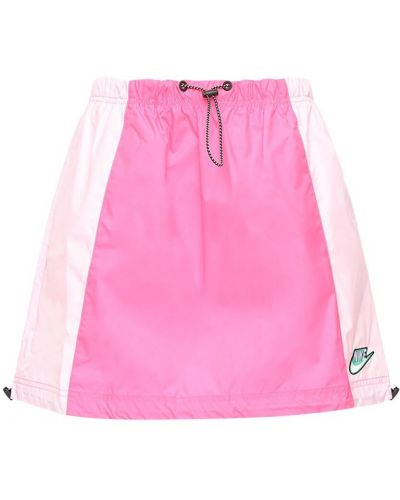 Кожаная розовая юбка мини с завязками эластичная Nike