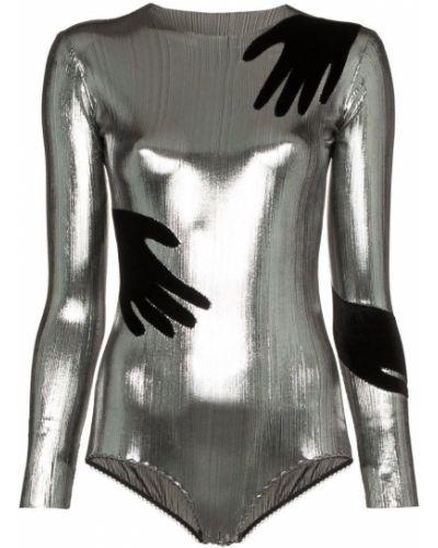 Серебряное боди с длинными рукавами Alexia Hentsch