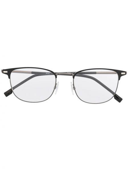 Czarna oprawka do okularów srebrna Boss