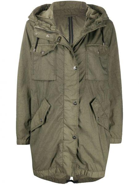 Зеленая длинное пальто с капюшоном на молнии Fay