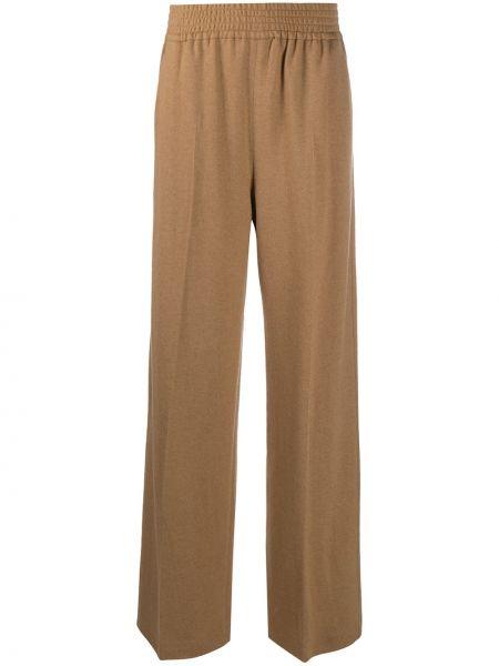 Коричневые свободные брюки из верблюжьей шерсти с карманами свободного кроя Agnona