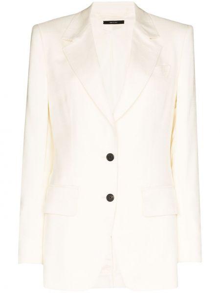Однобортный белый пиджак с карманами Tom Ford