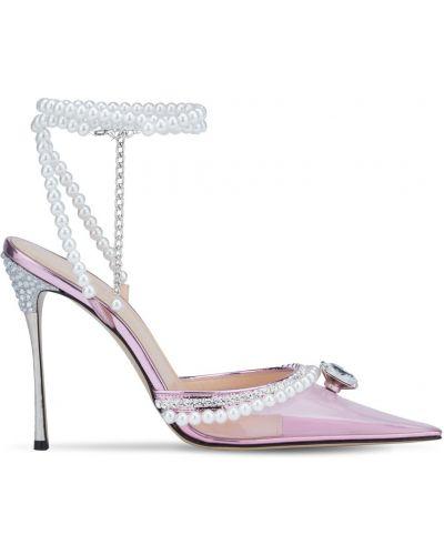 Кожаные розовые туфли-лодочки на каблуке Mach & Mach