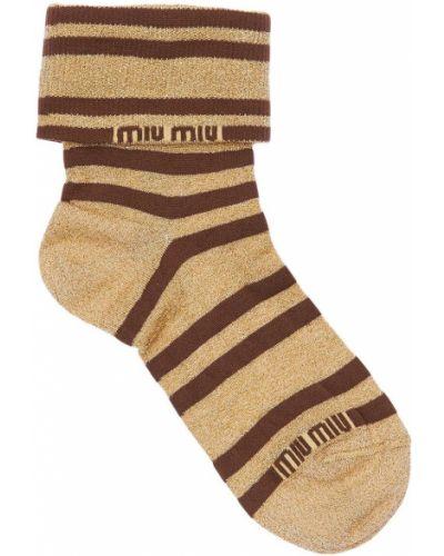 Носки с люрексом в полоску золотые Miu Miu