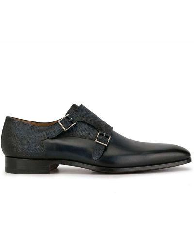 Темно-синие кожаные туфли с пряжкой на каблуке Magnanni