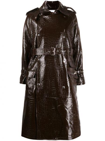 Коричневое кожаное длинное пальто с капюшоном S.w.o.r.d 6.6.44