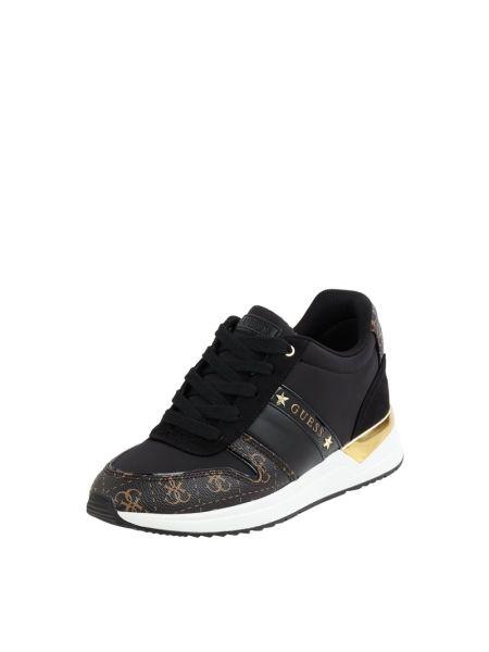 Czarny włókienniczy sneakersy z logo zasznurować Guess
