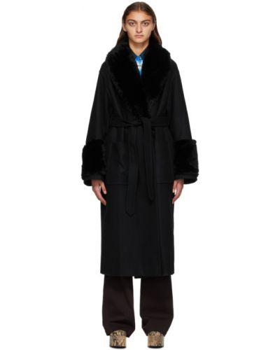 Черное длинное пальто с воротником с накладными карманами с лацканами Dries Van Noten
