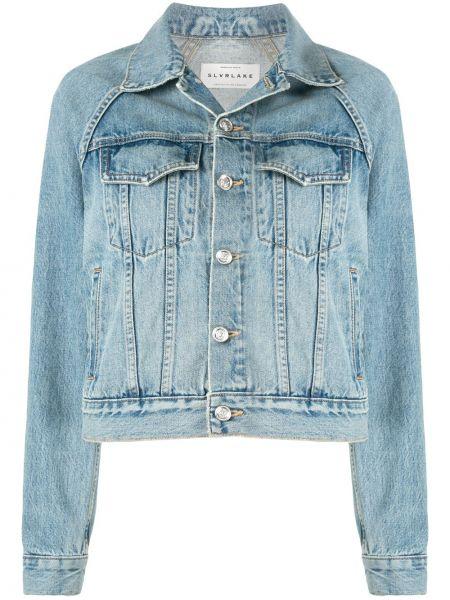 Классическая синяя джинсовая куртка на пуговицах с воротником Slvrlake