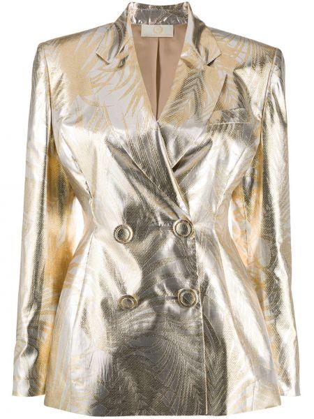Желтый приталенный пиджак двубортный Sara Battaglia