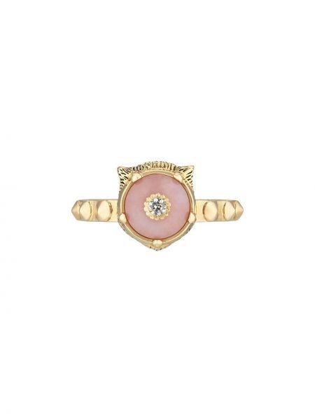Różowy złoty pierścionek z diamentem Gucci