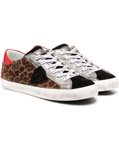 Кожаные коричневые кроссовки на шнуровке Philippe Model Kids