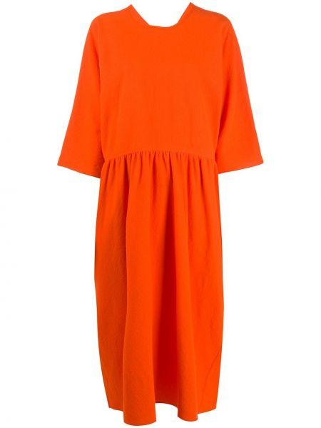 Шерстяное оранжевое платье миди с круглым вырезом круглое Sofie D'hoore