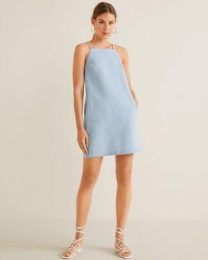 Джинсовое платье макси в полоску Mango