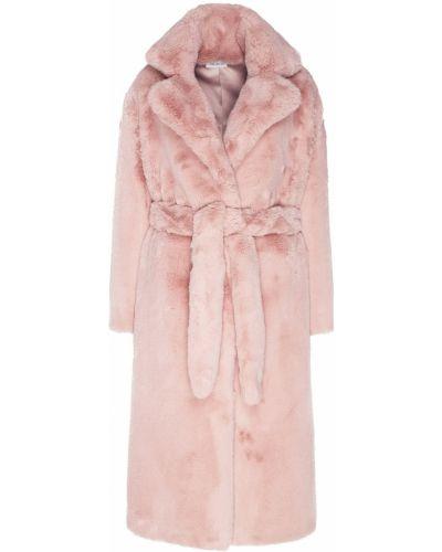 Прямая розовая шуба из искусственного меха ли-лу