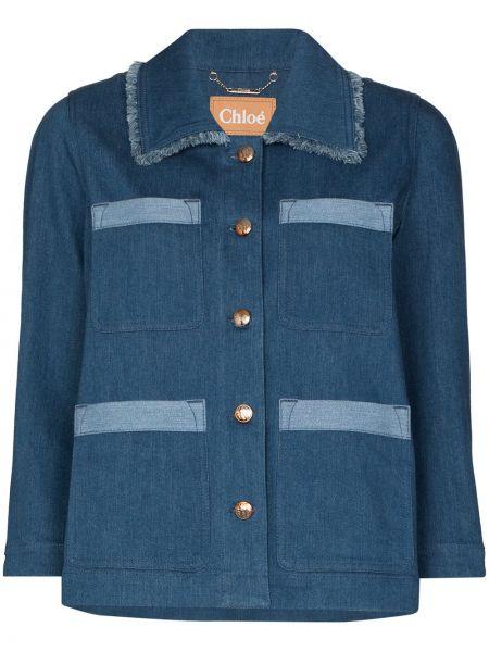 С рукавами синяя джинсовая куртка на пуговицах с воротником Chloé