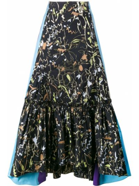 Черная асимметричная юбка жаккардовая Peter Pilotto