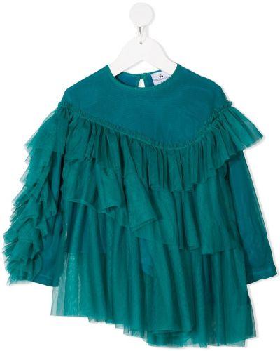 С рукавами синяя блуза из вискозы с круглым вырезом Raspberry Plum