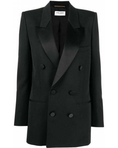Черный смокинг на пуговицах с карманами Saint Laurent
