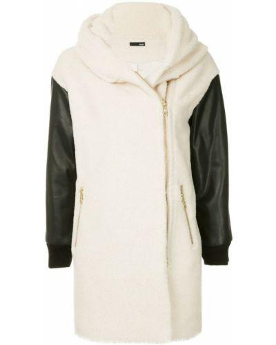 Белое длинное пальто с капюшоном Frei Ea