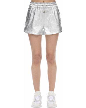 Однобортные серебряные шорты с карманами металлические Coco Cloude