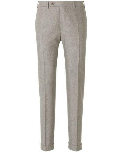 Beżowe spodnie wełniane Canali
